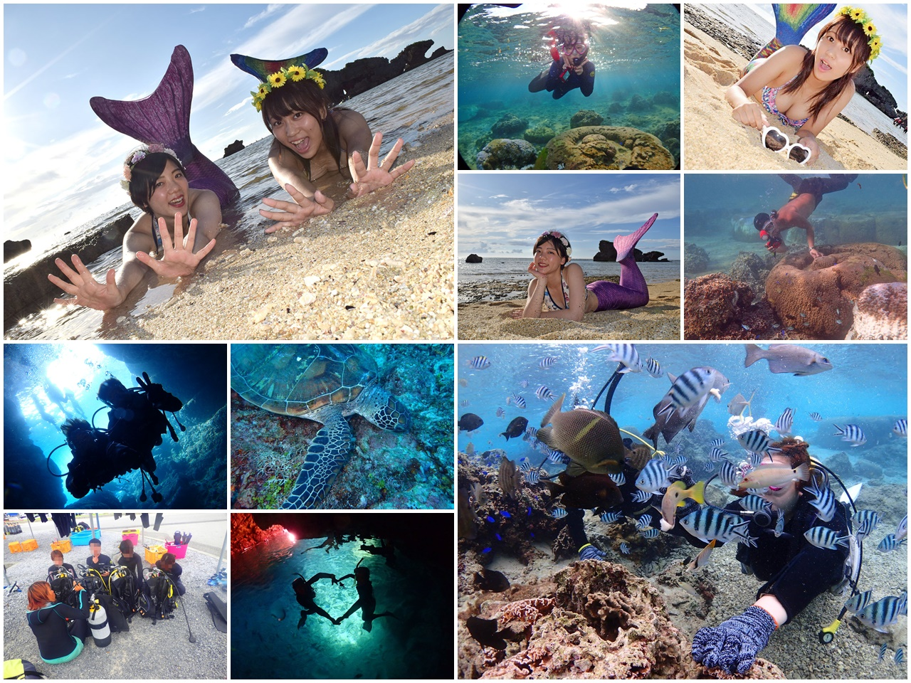 沖繩青之洞窟潛水.My Diving,深潛、浮潛、美人魚體驗,海邊玩翻天!