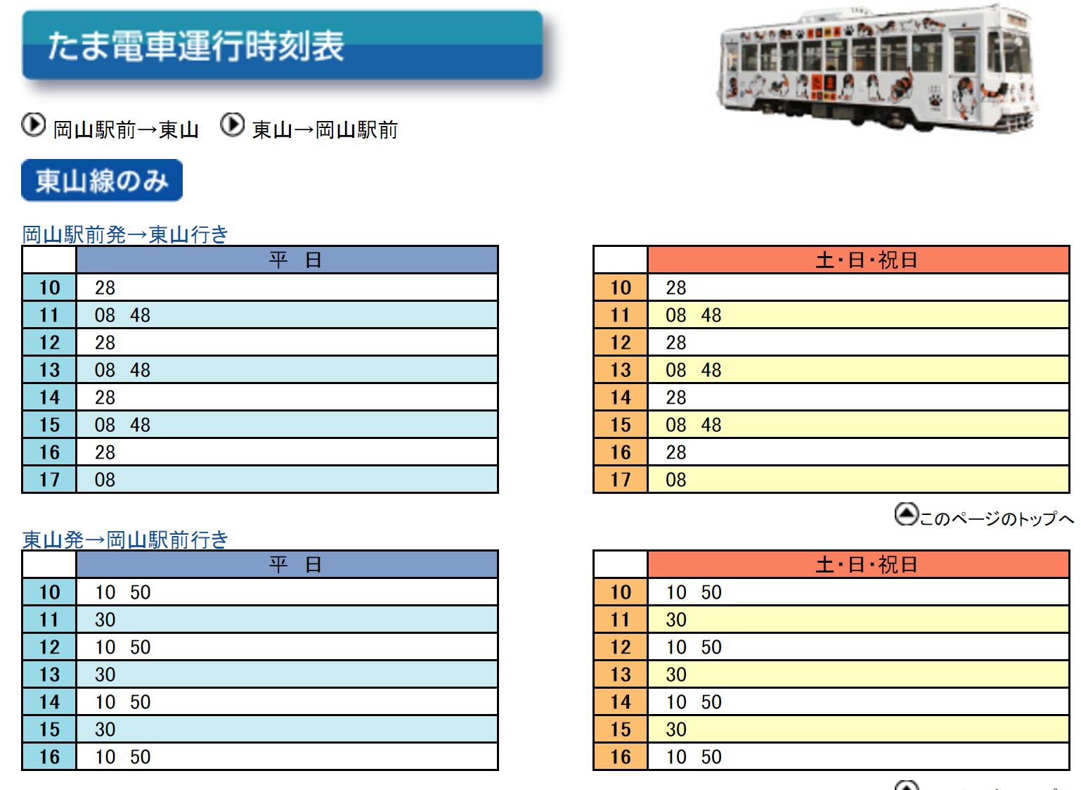 小玉電車時刻表